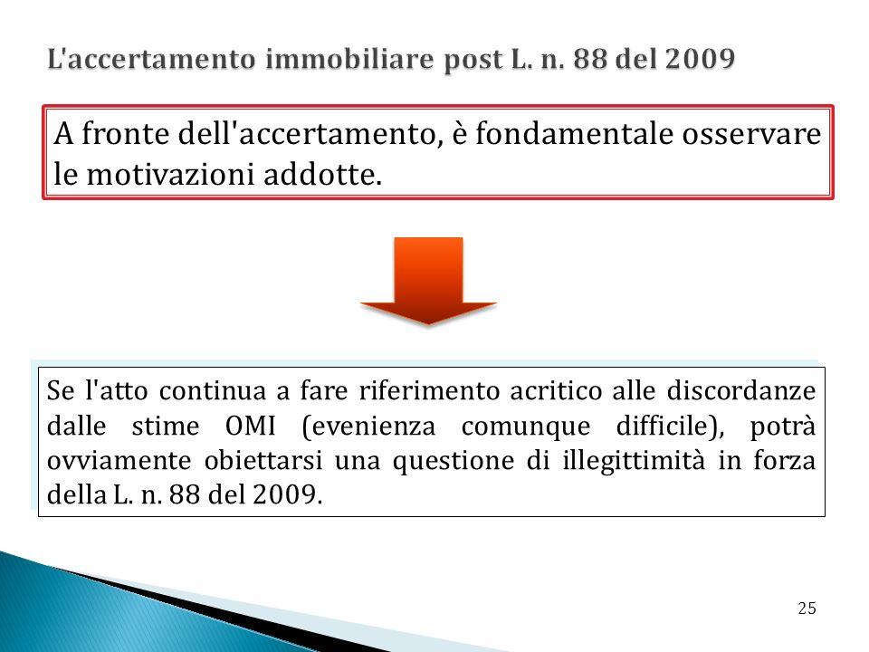 L accertamento immobiliare post L. n. 88 del 2009