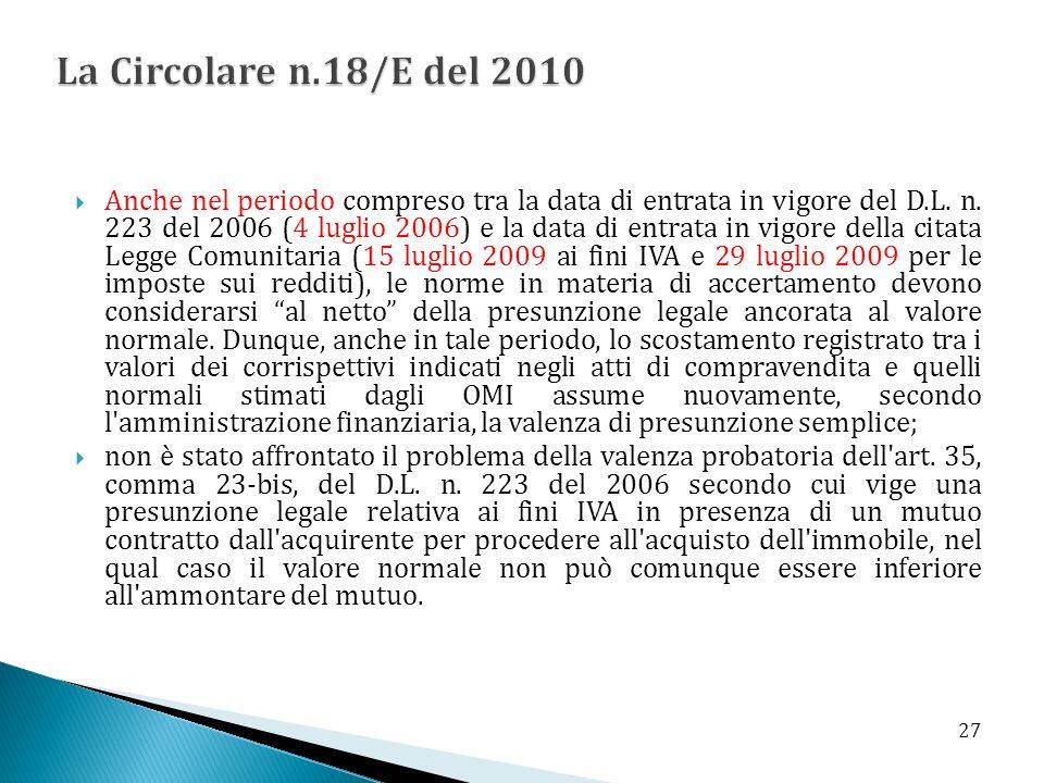 La Circolare n.18/E del 2010