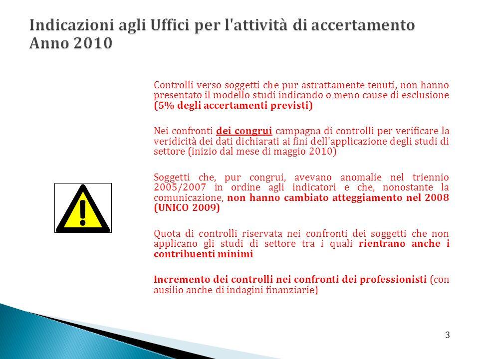 Indicazioni agli Uffici per l attività di accertamento Anno 2010