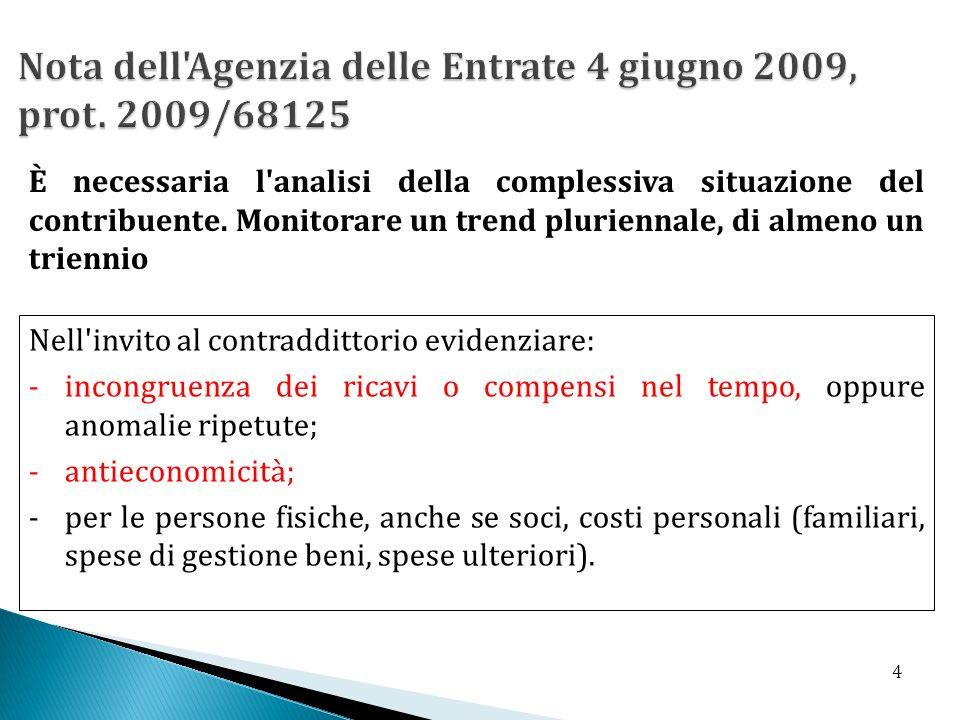 Nota dell Agenzia delle Entrate 4 giugno 2009, prot. 2009/68125