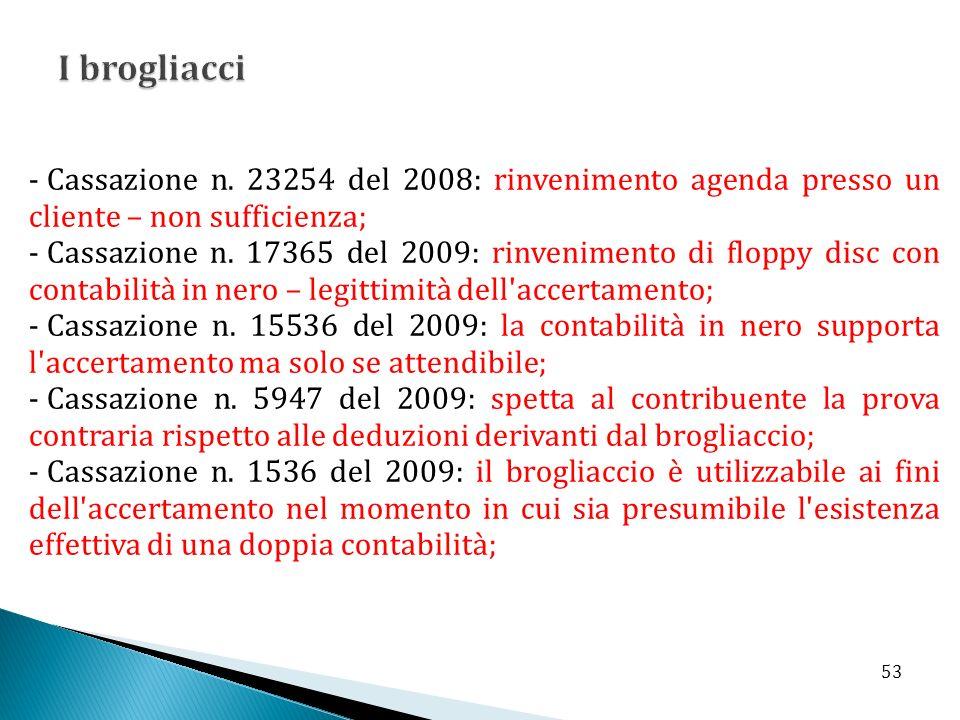 I brogliacci Cassazione n. 23254 del 2008: rinvenimento agenda presso un cliente – non sufficienza;