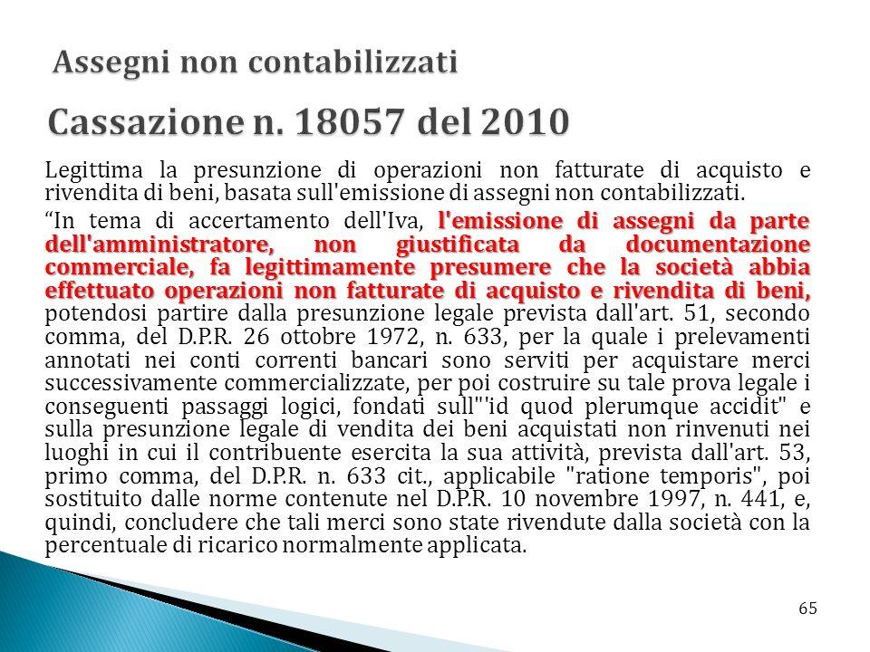 Cassazione n. 18057 del 2010 Assegni non contabilizzati
