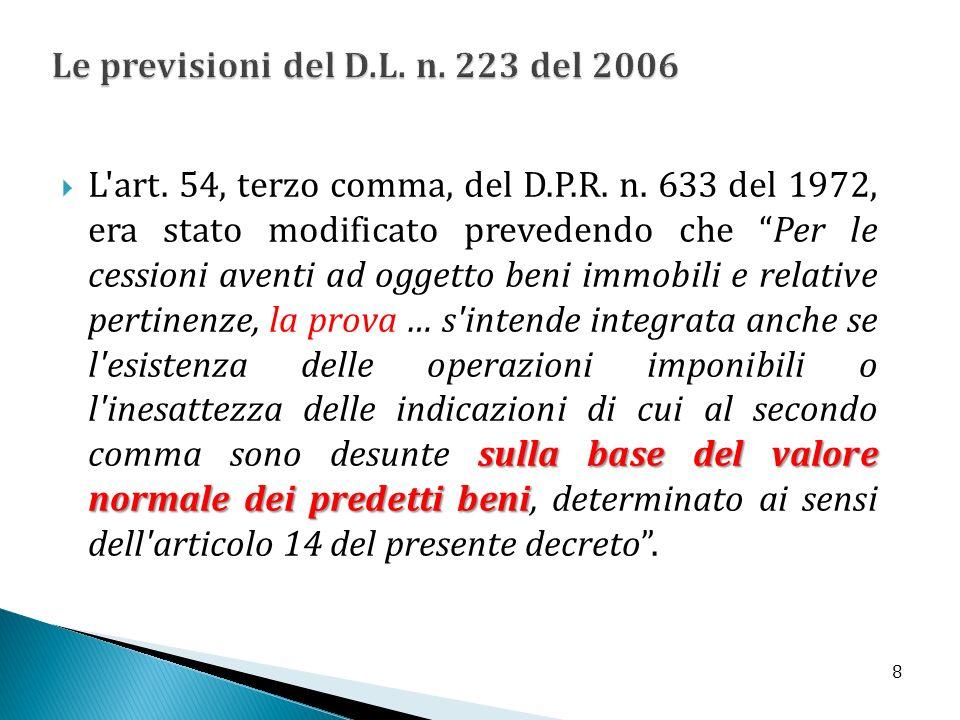 Le previsioni del D.L. n. 223 del 2006