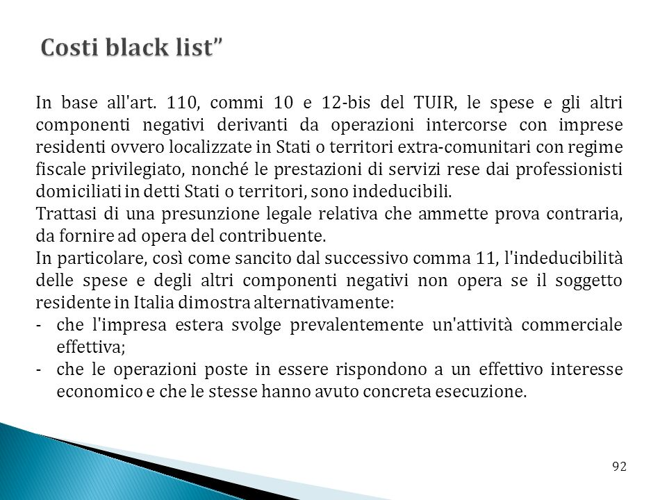 Costi black list