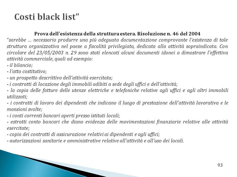 Costi black list Prova dell esistenza della struttura estera. Risoluzione n. 46 del 2004.