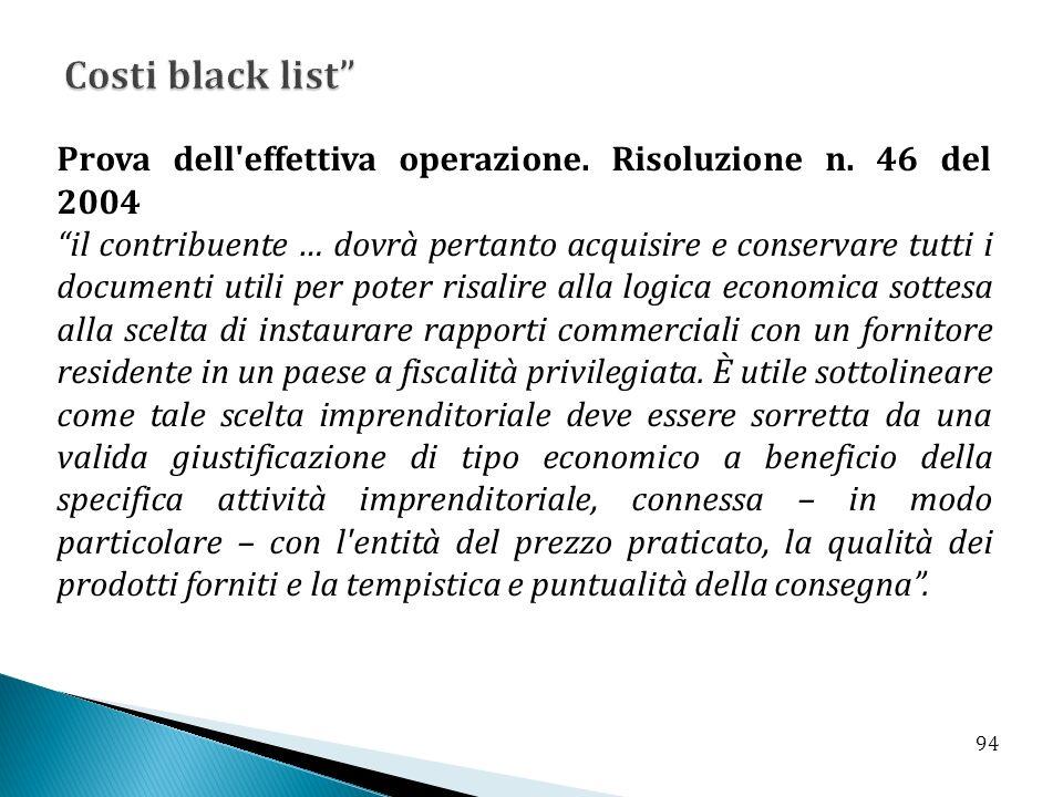 Costi black list Prova dell effettiva operazione. Risoluzione n. 46 del 2004.