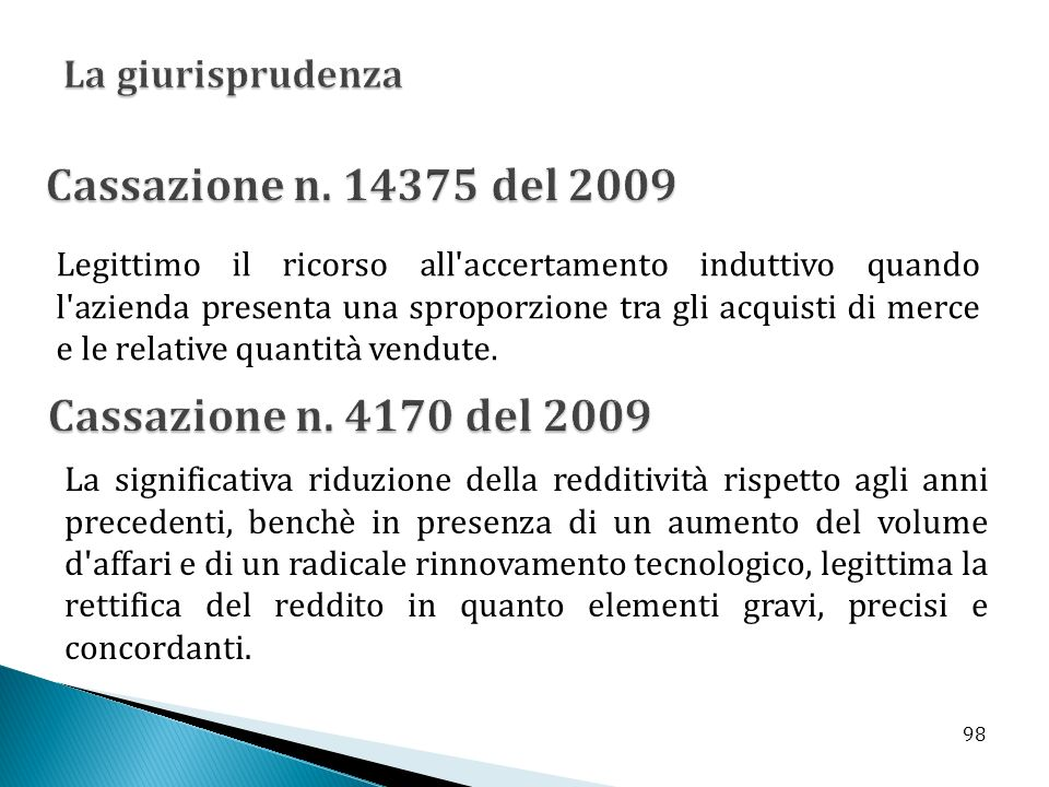 Cassazione n. 14375 del 2009 Cassazione n. 4170 del 2009