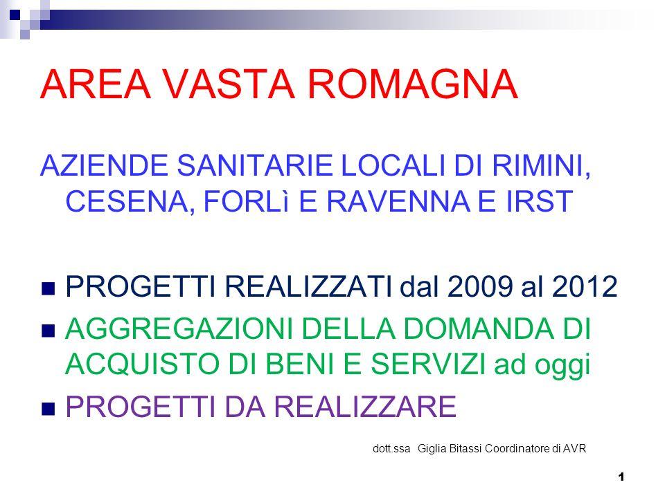 AREA VASTA ROMAGNA AZIENDE SANITARIE LOCALI DI RIMINI, CESENA, FORLì E RAVENNA E IRST. PROGETTI REALIZZATI dal 2009 al 2012.