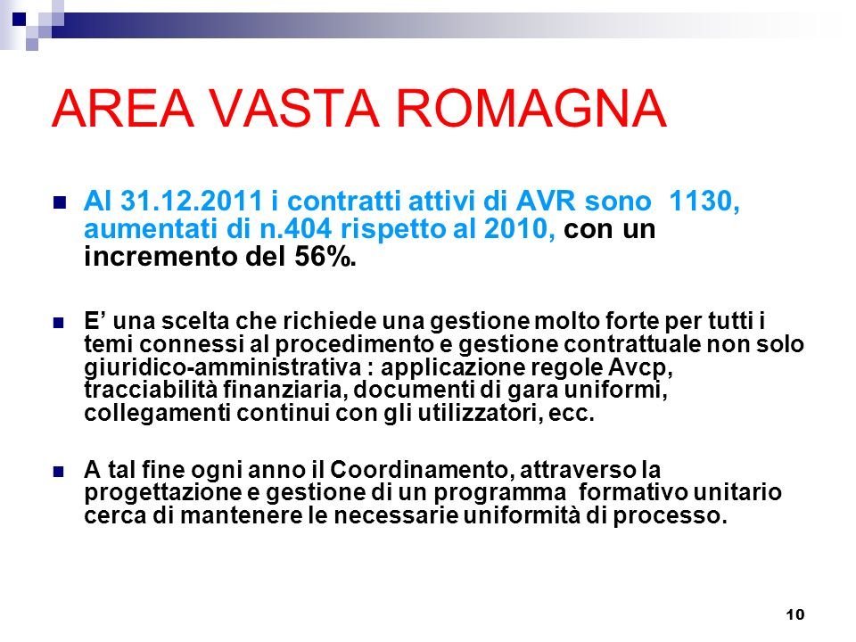 AREA VASTA ROMAGNA Al 31.12.2011 i contratti attivi di AVR sono 1130, aumentati di n.404 rispetto al 2010, con un incremento del 56%.