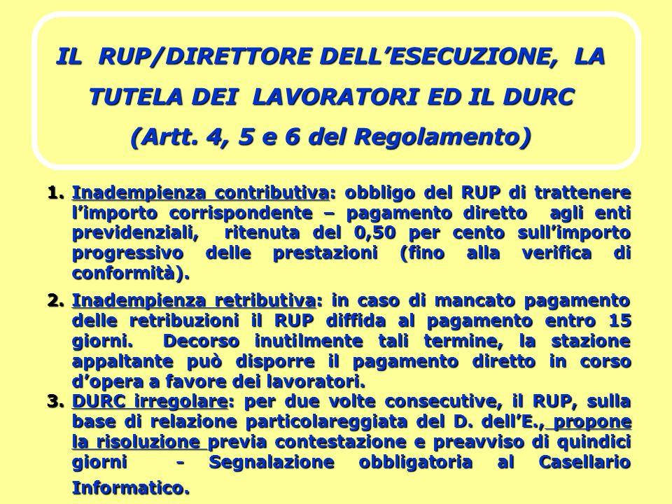 IL RUP/DIRETTORE DELL'ESECUZIONE, LA TUTELA DEI LAVORATORI ED IL DURC (Artt. 4, 5 e 6 del Regolamento)