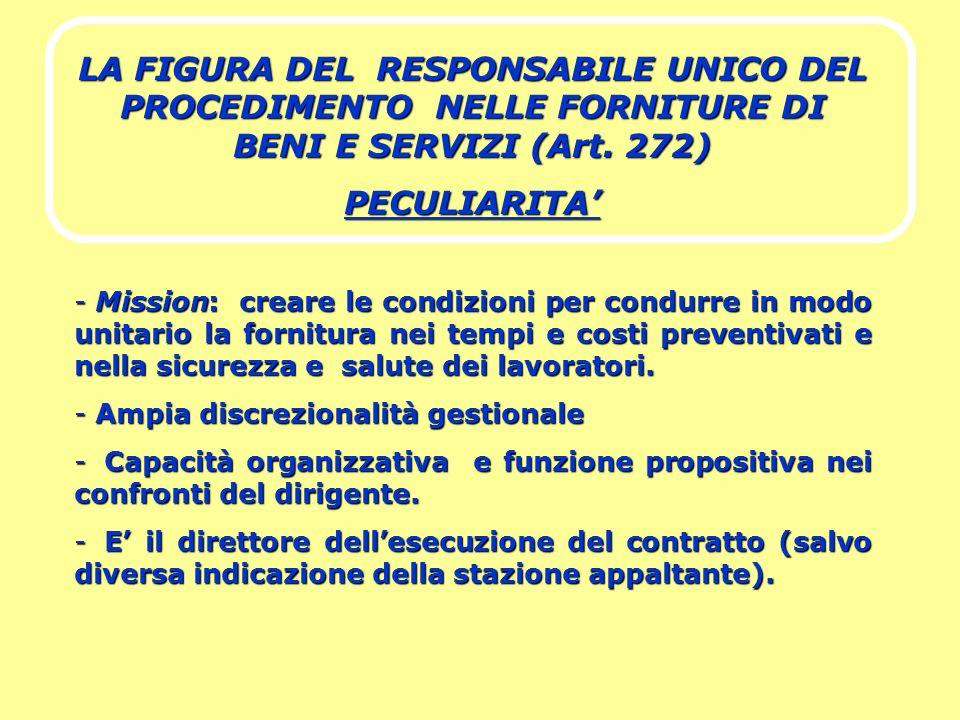 LA FIGURA DEL RESPONSABILE UNICO DEL PROCEDIMENTO NELLE FORNITURE DI BENI E SERVIZI (Art. 272)