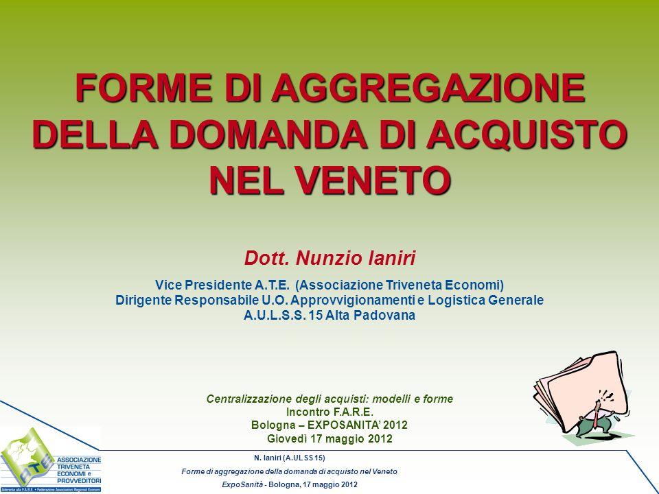 FORME DI AGGREGAZIONE DELLA DOMANDA DI ACQUISTO NEL VENETO