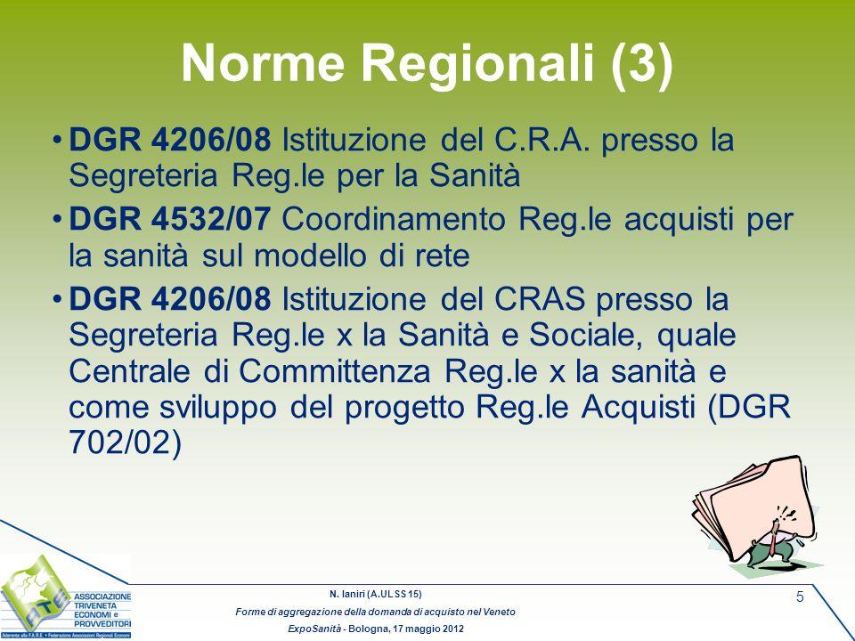 Norme Regionali (3) DGR 4206/08 Istituzione del C.R.A. presso la Segreteria Reg.le per la Sanità.
