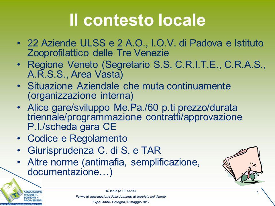 Il contesto locale 22 Aziende ULSS e 2 A.O., I.O.V. di Padova e Istituto Zooprofilattico delle Tre Venezie.