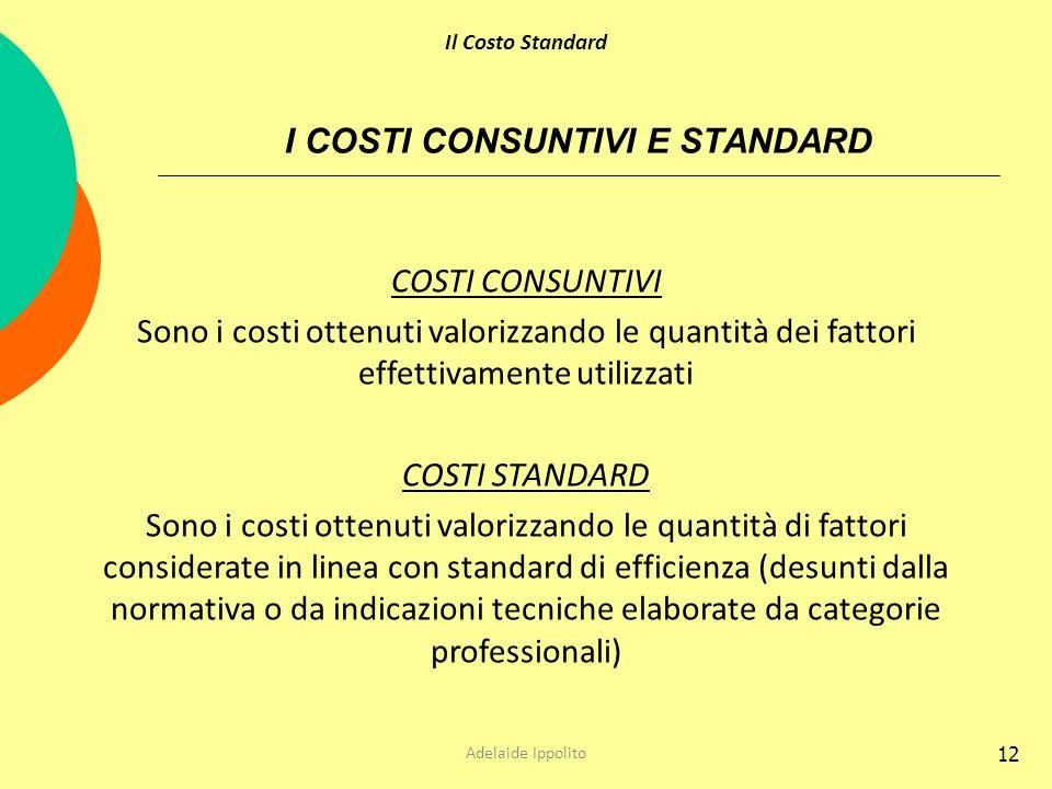 I COSTI CONSUNTIVI E STANDARD