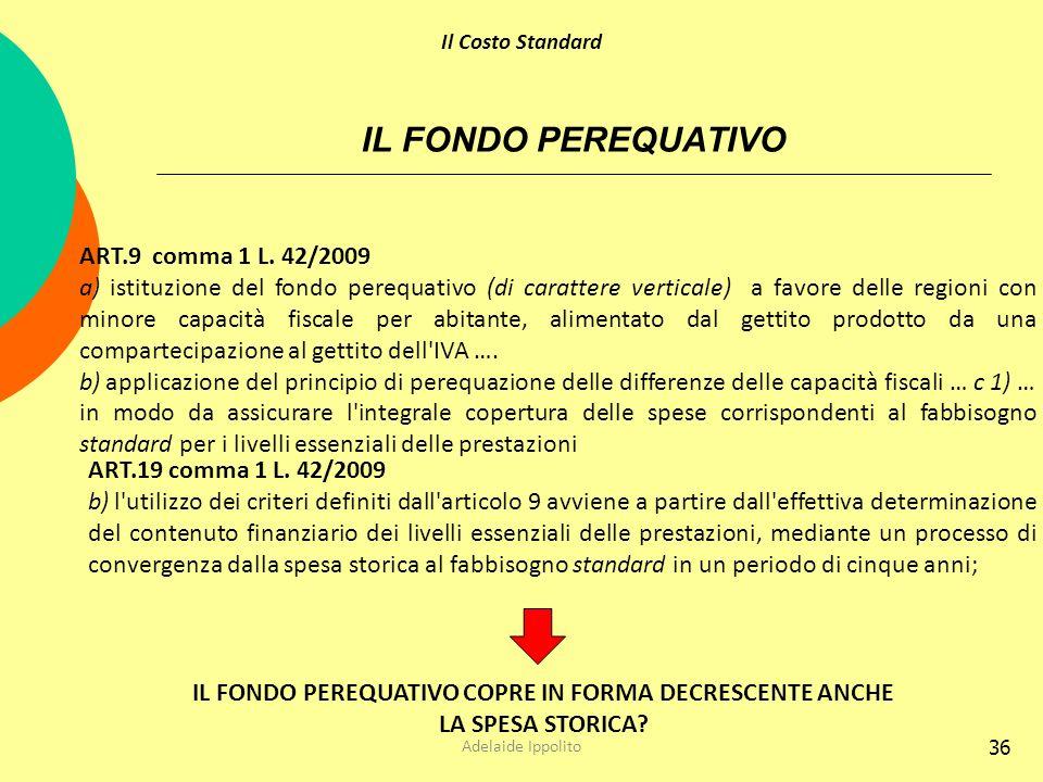 IL FONDO PEREQUATIVO COPRE IN FORMA DECRESCENTE ANCHE