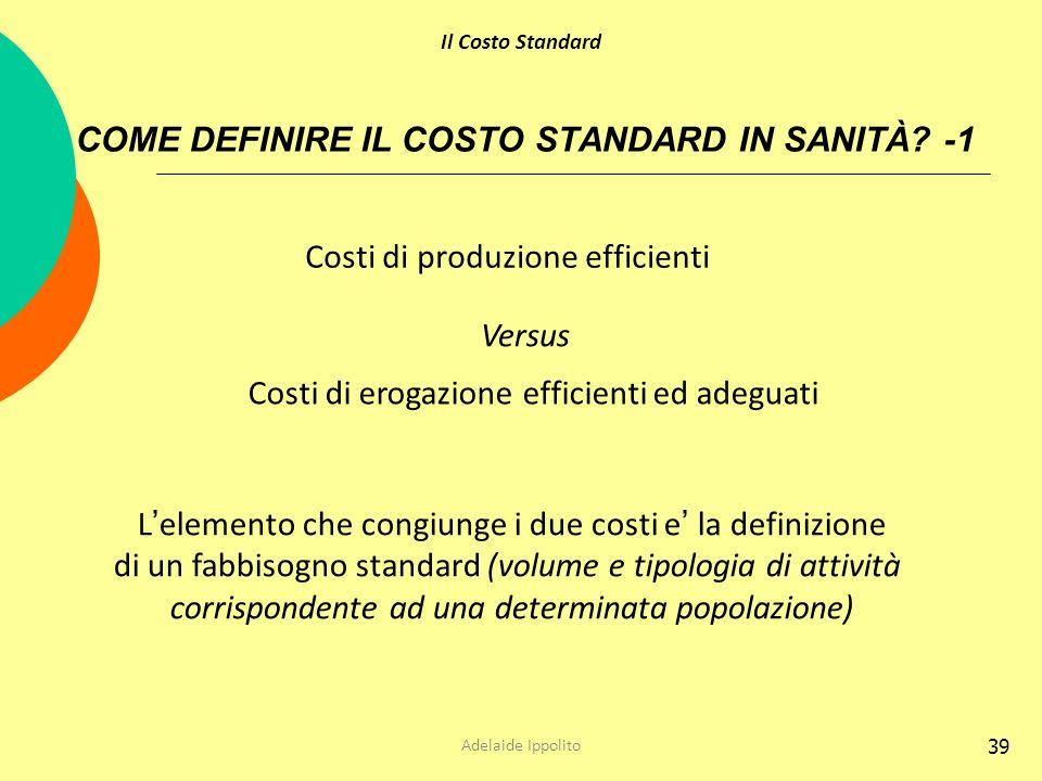 COME DEFINIRE IL COSTO STANDARD IN SANITÀ -1