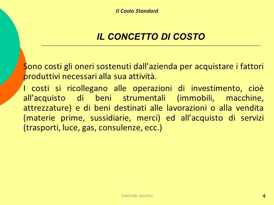 Il Costo Standard IL CONCETTO DI COSTO. Sono costi gli oneri sostenuti dall'azienda per acquistare i fattori produttivi necessari alla sua attività.
