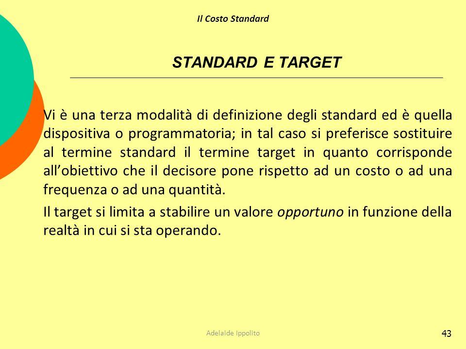 Il Costo Standard STANDARD E TARGET.