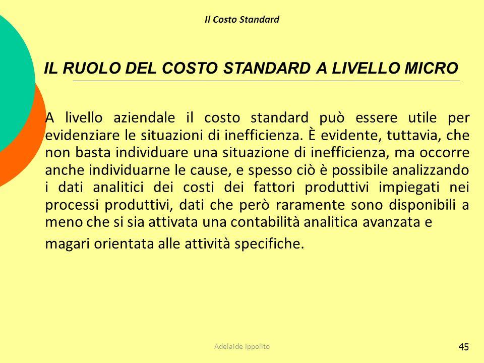 IL RUOLO DEL COSTO STANDARD A LIVELLO MICRO
