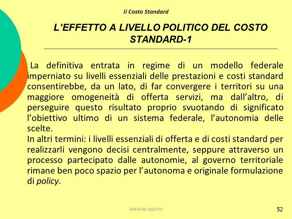 L'EFFETTO A LIVELLO POLITICO DEL COSTO STANDARD-1