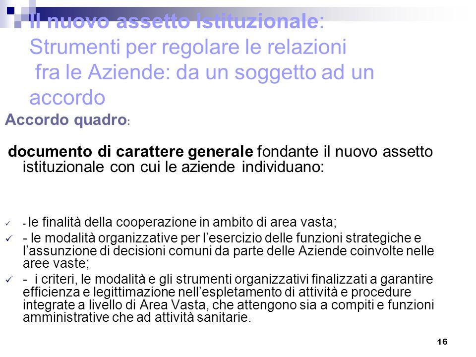 Il nuovo assetto Istituzionale: Strumenti per regolare le relazioni fra le Aziende: da un soggetto ad un accordo