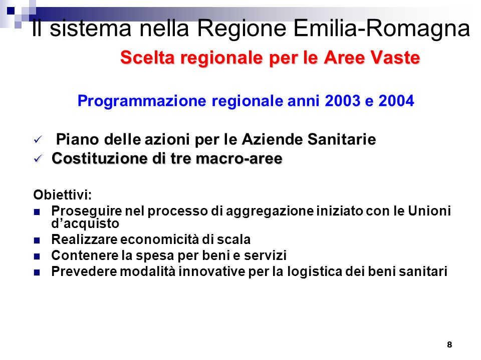 Programmazione regionale anni 2003 e 2004