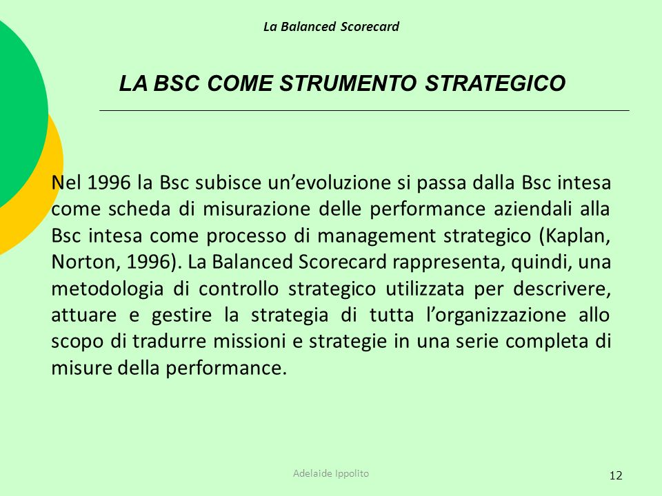 LA BSC COME STRUMENTO STRATEGICO