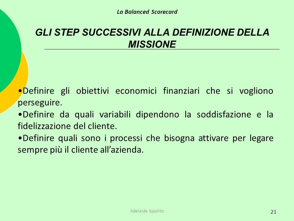 GLI STEP SUCCESSIVI ALLA DEFINIZIONE DELLA MISSIONE
