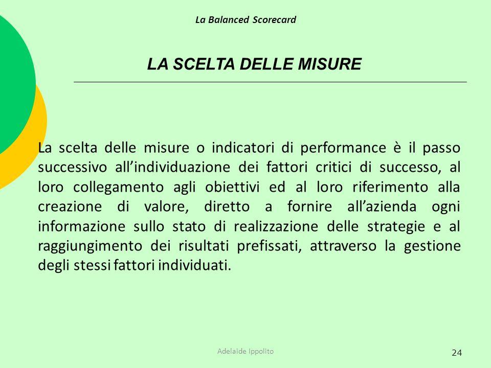 La Balanced Scorecard LA SCELTA DELLE MISURE.