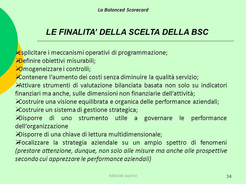 LE FINALITA' DELLA SCELTA DELLA BSC
