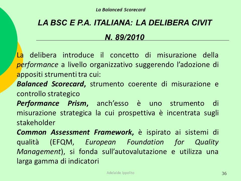 LA BSC E P.A. ITALIANA: LA DELIBERA CIVIT