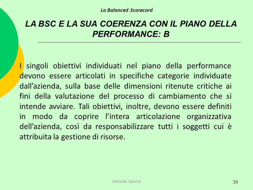 LA BSC E LA SUA COERENZA CON IL PIANO DELLA PERFORMANCE: B