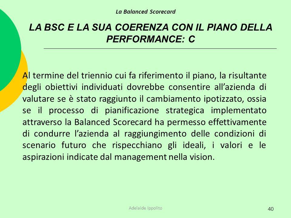 LA BSC E LA SUA COERENZA CON IL PIANO DELLA PERFORMANCE: C