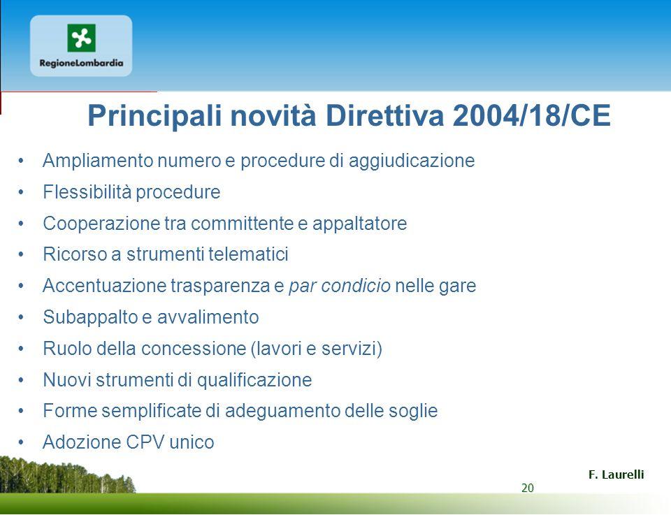 Principali novità Direttiva 2004/18/CE