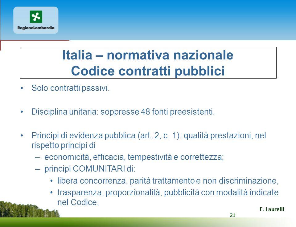 Italia – normativa nazionale Codice contratti pubblici