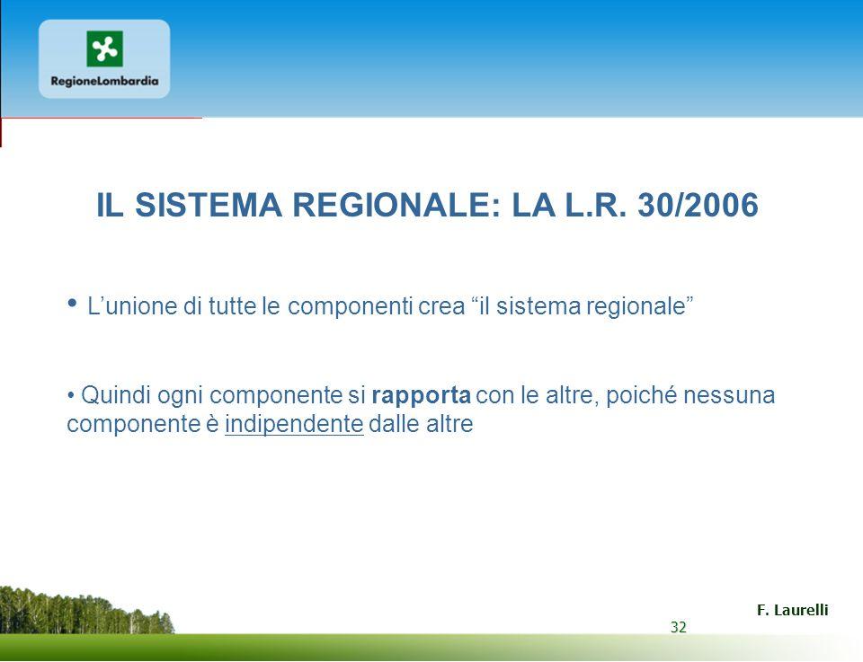 IL SISTEMA REGIONALE: LA L.R. 30/2006