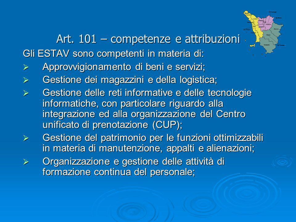 Art. 101 – competenze e attribuzioni
