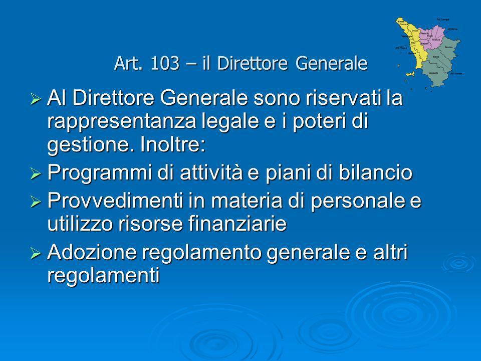 Art. 103 – il Direttore Generale