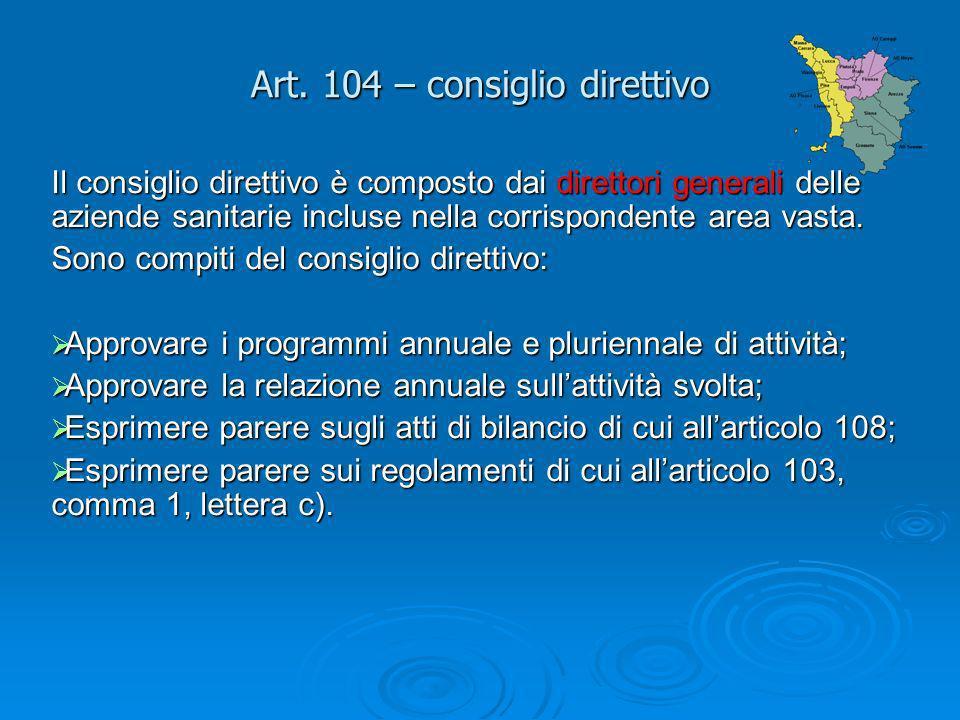 Art. 104 – consiglio direttivo