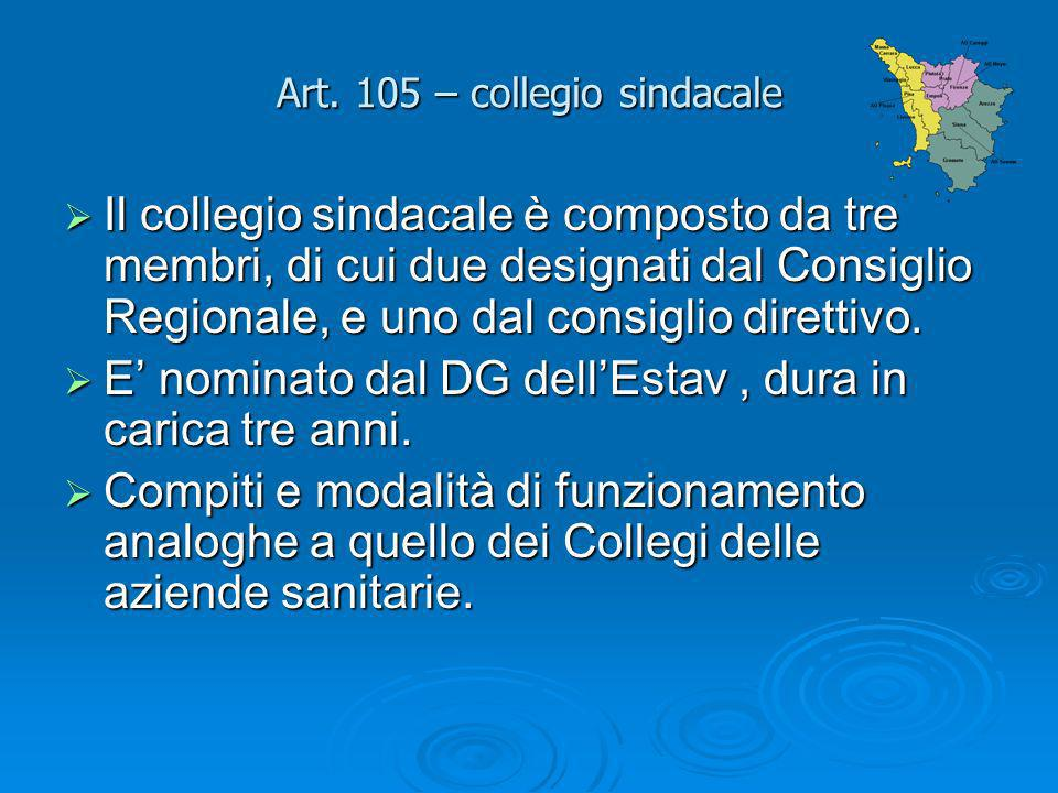 Art. 105 – collegio sindacale