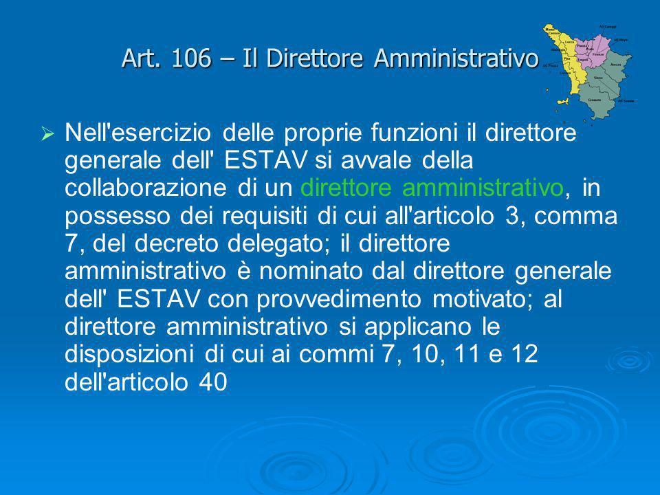 Art. 106 – Il Direttore Amministrativo