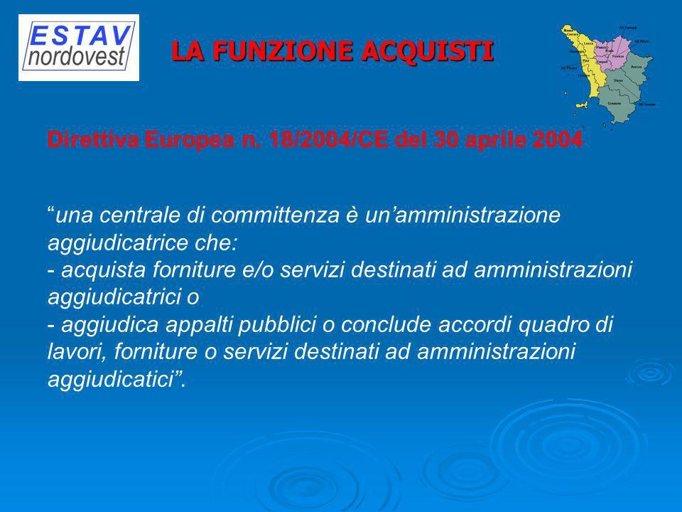 LA FUNZIONE ACQUISTI Direttiva Europea n. 18/2004/CE del 30 aprile 2004. una centrale di committenza è un'amministrazione aggiudicatrice che: