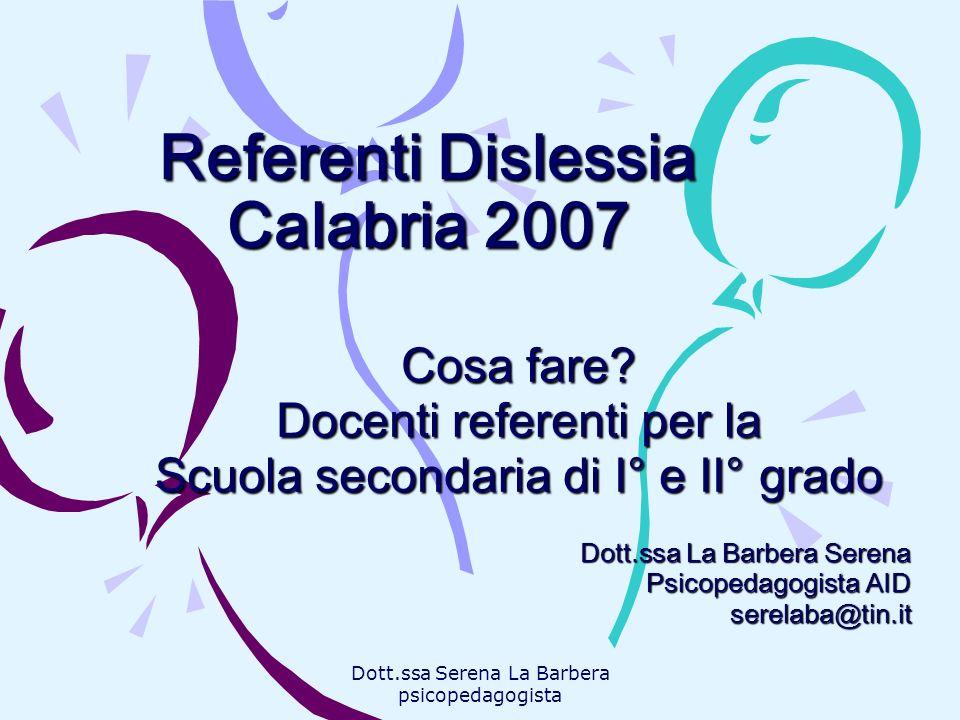 Referenti Dislessia Calabria 2007