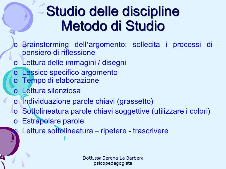 Studio delle discipline Metodo di Studio