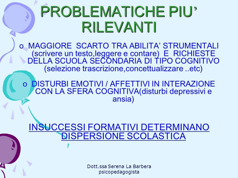 PROBLEMATICHE PIU' RILEVANTI