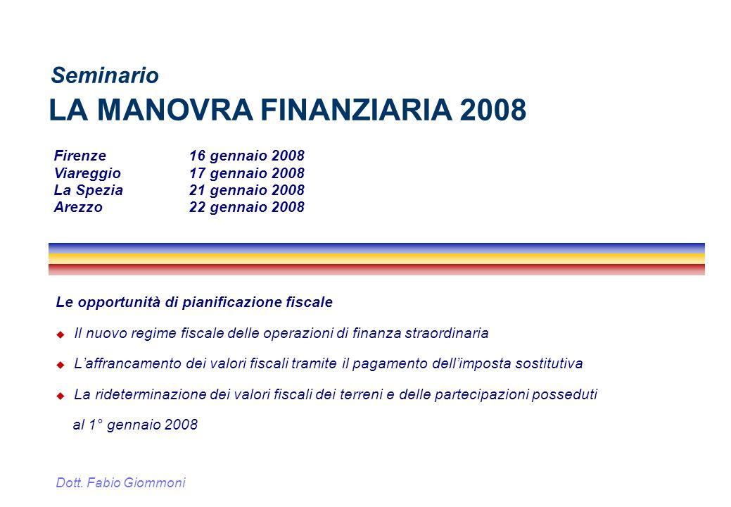 LA MANOVRA FINANZIARIA 2008
