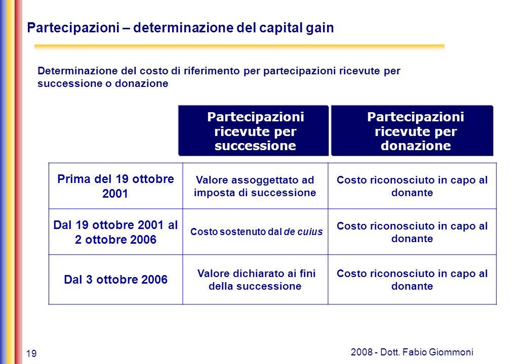 Partecipazioni – determinazione del capital gain
