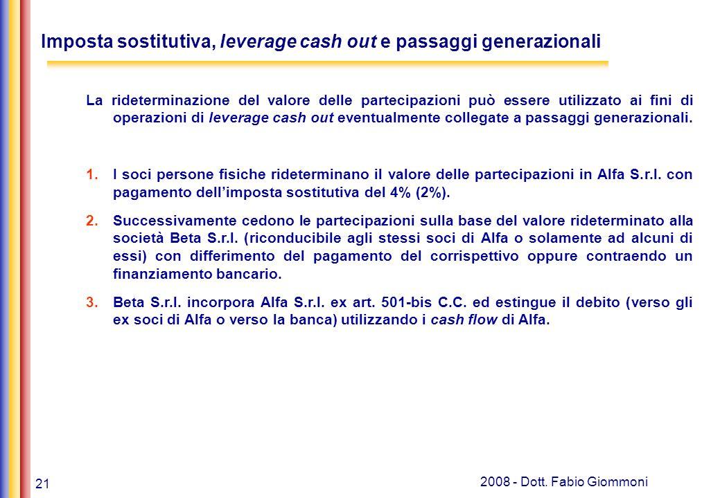 Imposta sostitutiva, leverage cash out e passaggi generazionali