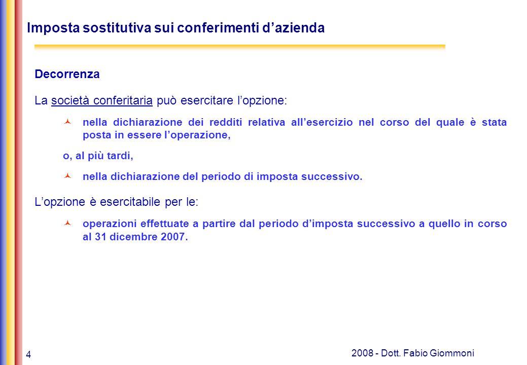 Imposta sostitutiva sui conferimenti d'azienda